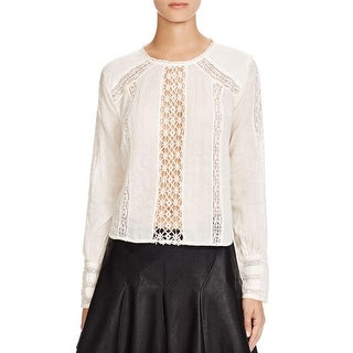 Free People Womens Blouse Cotton Lace Inset