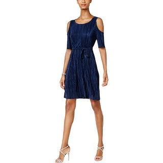 Connected Apparel Womens Petites Cocktail Dress Pleated Cold Shoulder