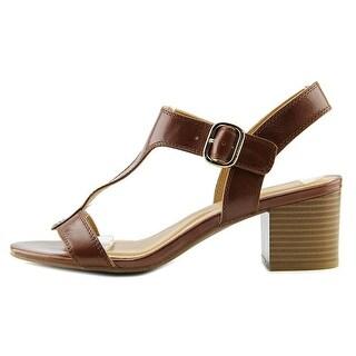 Alfani Womens Yullia Leather Open Toe Casual T-Strap Sandals
