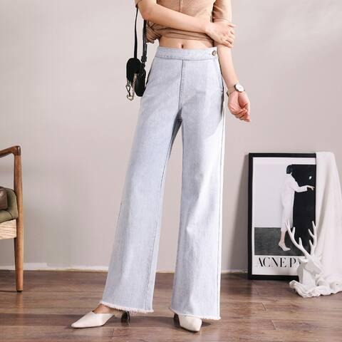 2019 New Korean Version Of High Waist Slim Denim Wide Leg Pants
