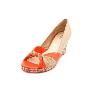 Cole Haan Ava Open Toe Wedge Women Open Toe Leather Orange Wedge Heel