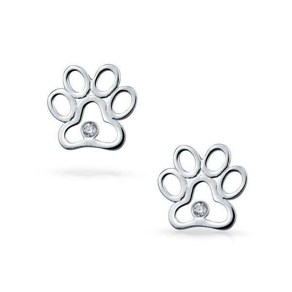 Real 375 9ct Gold Round Stud Earrings w Cut Out Animal Pawprint Pets Animals
