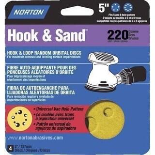 """Norton 02001 Hook and Loop Sanding Discs, 5"""" Dia., 220 Grit"""