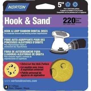 """Norton 04057 Hook and Loop Sanding Disc, 5"""" Dia., 220 Grit"""