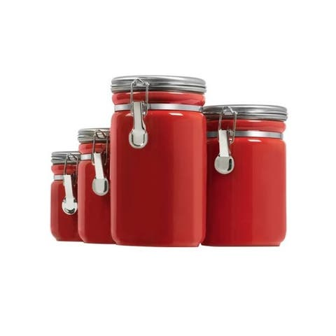Anchor hocking 03923red canister set red ceramic 4pc