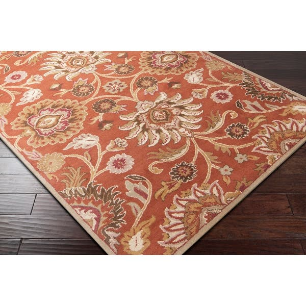 Hand Tufted Alameda Traditional Floral Wool Area Rug On Sale Overstock 8757418 8 Round Orange