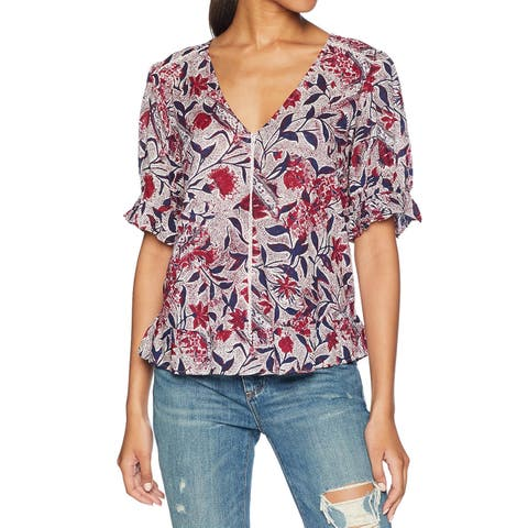 Lucky Brand Burgundy Red White Womens Size Small S Floral Knit Top
