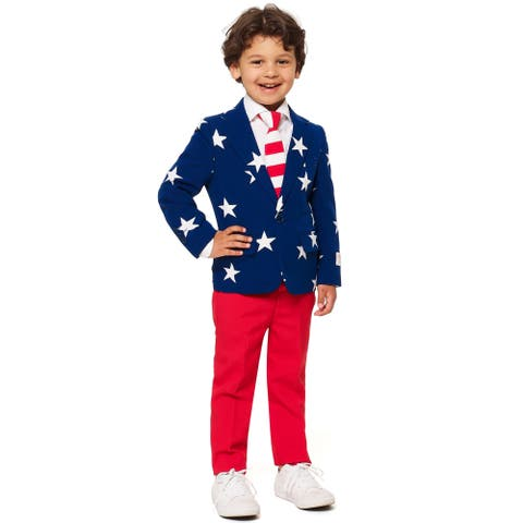 Red and Blue Stars and Stripes Americana Boy Child Suit - Extra Large - X-Large