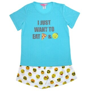 Katnap Kids Girls Emoji Tee and Short Pajama Set