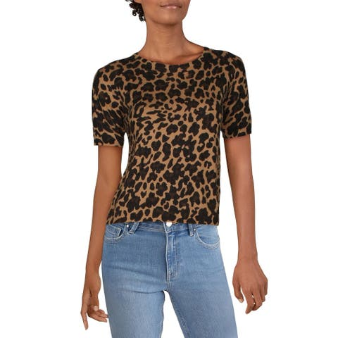 Guess Womens Sweater Animal Print Crew Neck - Beige Leopard Combo - M