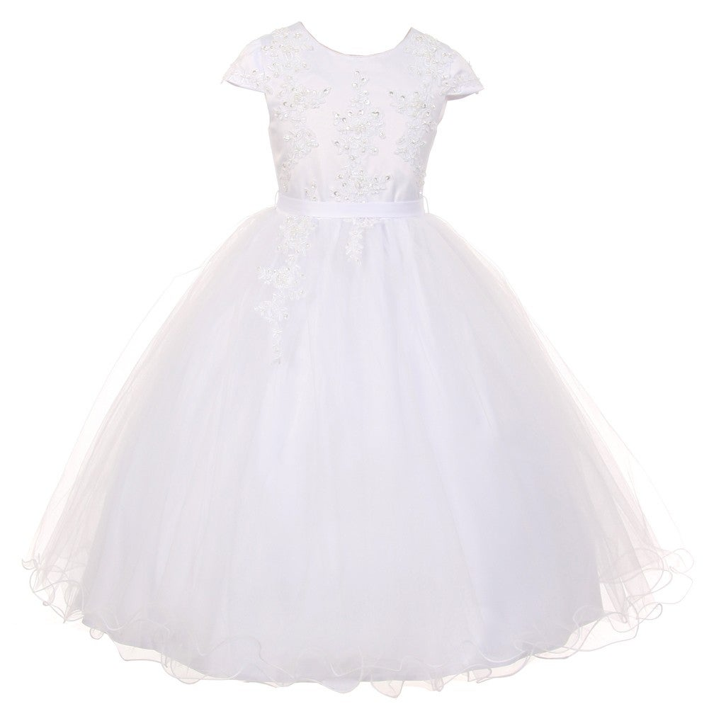 Girls 1st Commmnion Pageant Wedding Flower Girl Ruffled Dress 3 4 5 6 7 8 10 12