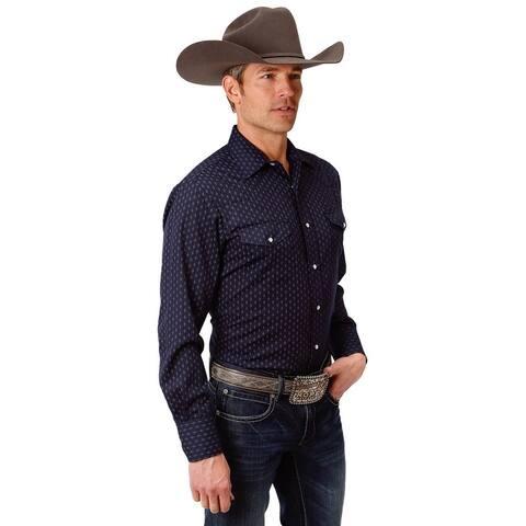 Roper Western Shirt Mens Snap L/S Tall Navy