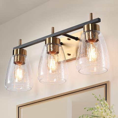 "Modern 3-Light Brass Gold/ Black Vanity Lights Seeded Glass Wall Sconces - L 22""xW 7.1""xH 8.7"""