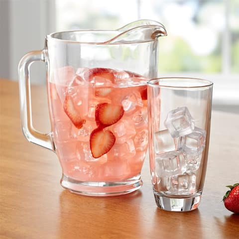 7-Piece Clear Glass Pitcher and Drinkware Tumbler Set-Dishwasher safe - 7piece