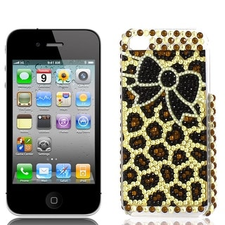 Unique Bargains Black Yellow Bowknot Pattern Rhinestones Back Case for Apple iPhone 4 4G 4S