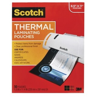 Scotch Laminating Pouch, 8-9/10 x 11-2/5 Inches, Clear, 3 mil Thick, Pack of 50