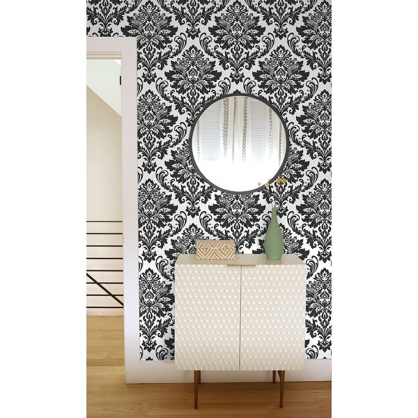 NextWall Black Damask Peel and Stick Removable Wallpaper - 20.5 in. W x 18 ft. L. Opens flyout.