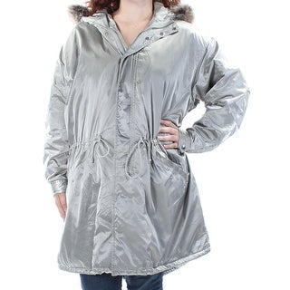 RALPH LAUREN $325 Womens New 1384 Silver Faux Fur Zip Up Casual Coat L B+B
