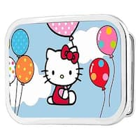 Hello Kitty In Clouds Holding Balloons Framed Fcg Chrome Rock Star Buckle - multi - One Size Fits most