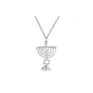 Menorah Star Of David Pendant Necklace 16 Inches Rhodium Plated