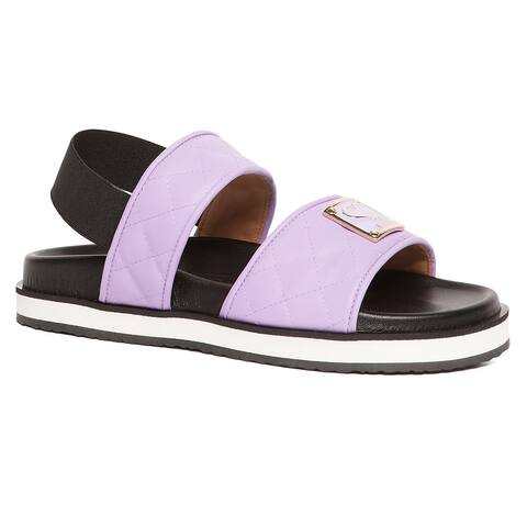 Love Moschino Lilac Quilted Strap Flat Sandal