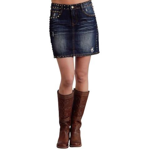 Stetson Western Skirt Womens Denim Studded Blue - 2