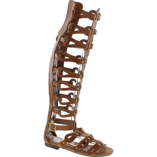 Forever Atta Alyssa 17 Womens Knee High Caged Gladiator Strappy Flat Sandals Tan