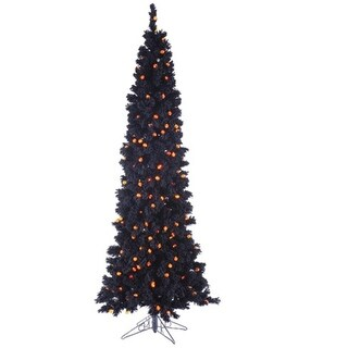 6.5' Pre-Lit Black Flocked Artificial Halloween Tree - Orange G25 LED Lights