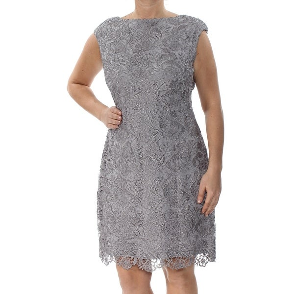 RALPH LAUREN Womens Gray Lace Boat Neck Above The Knee A-Line Formal Dress Size: 12