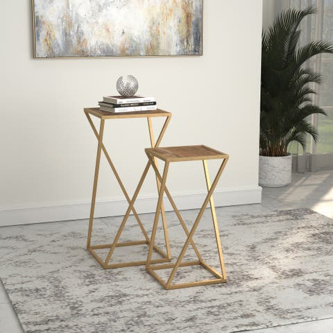 Silver Orchid Hillberg Weathered 2-piece Square Nesting Table