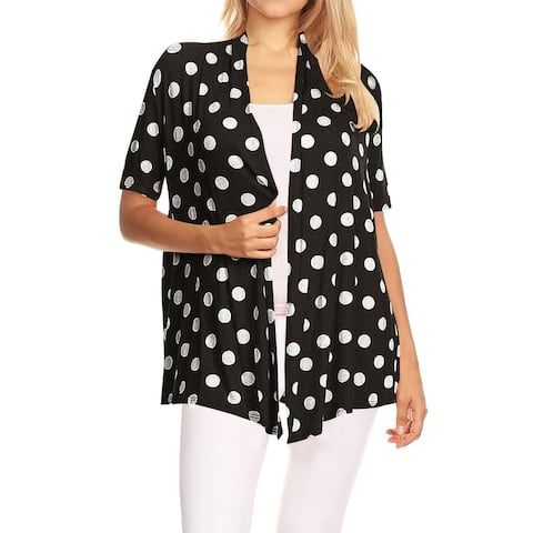 Women's Polka Dot Pattern Print Plus Size Sweater Cardigan