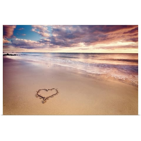 """""""A heart in the sand on a dutch beach during sunset."""" Poster Print"""