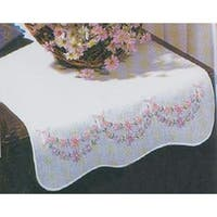 "Petit Fleur - Stamped White Dresser Scarf For Embroidery 14""X39"""