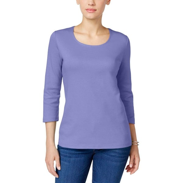 6d506cb5 Shop Karen Scott Womens Casual Top Cotton 3/4 Sleeves - Free Shipping On Orders  Over $45 - Overstock - 18757193