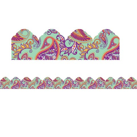 Positively Paisley Mint Paisley Arch Deco Trim® Extra Wide Die Cut, 37 Feet Per Pack, 6 Packs - One Size