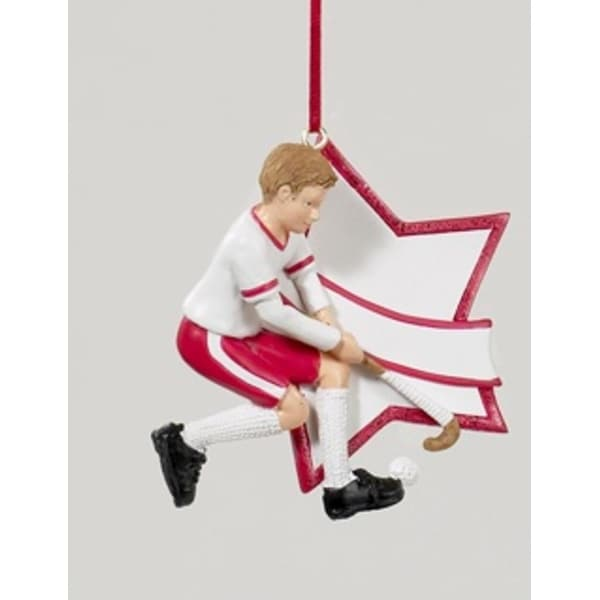 "3"" Red Boy Field Hockey Star Christmas Ornament for Personalization"