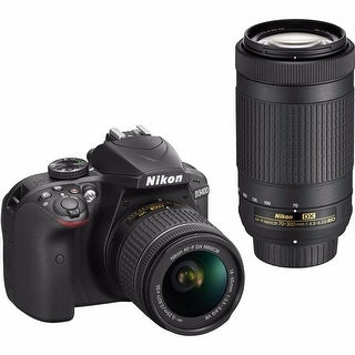Nikon D3400 24.2MP DSLR Camera with 18-55mm and 70-300mm Lenses (Black)