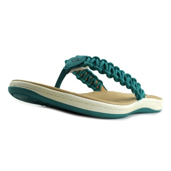 a6f9c1fbd649 Sperry Top Sider Seabrook Current Women Open Toe Leather Green Flip Flop  Sandal