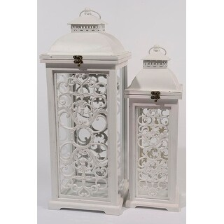 Set of 2 L'Eau de Fleur Distressed White Wood Pillar Candle Lanterns 24.5""