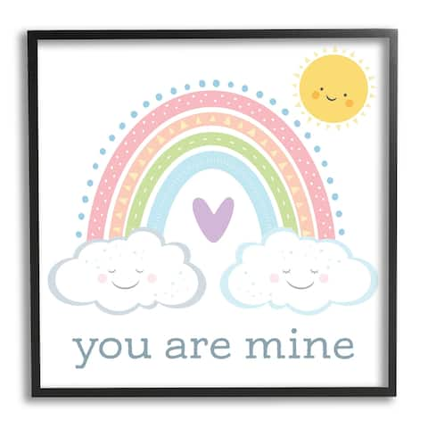 Stupell Industries You Are Mine Expression Smiling Cloud Sun Rainbow Framed Wall Art