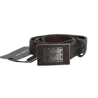 Dolce & Gabbana Brown Leather Casual Logo Buckle Belt - 95-cm-38-inches