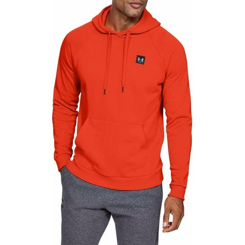 Under Armour Mens Sweater Red Size Small S Front Pocket Fleece Hooded