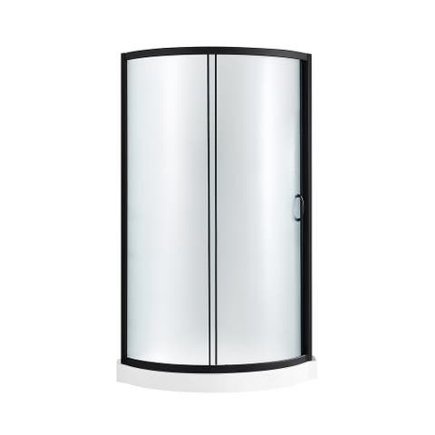 OVE Decors Breeze 32 in. Black Shower Kit with Frosted Glass Panels and Base included