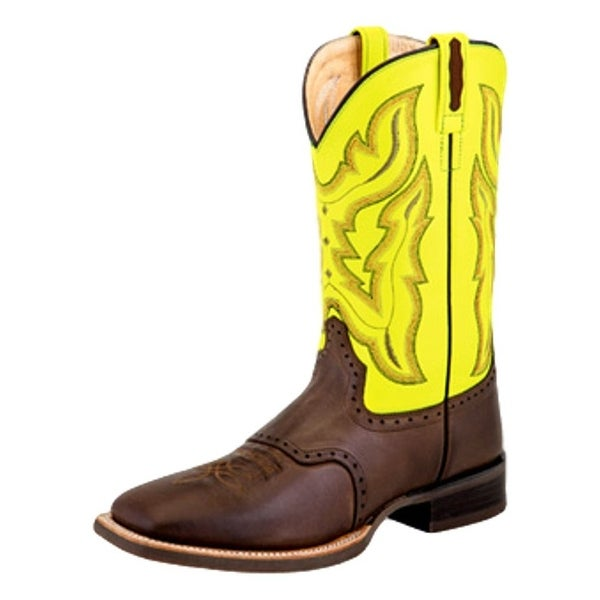 Old West Cowboy Boot Men Broad Square Lined Chocolate Barnwood