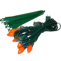 Set of 10 Bright Orange C7 Halloween Pathway Marker Lawn Stakes - Green Wire