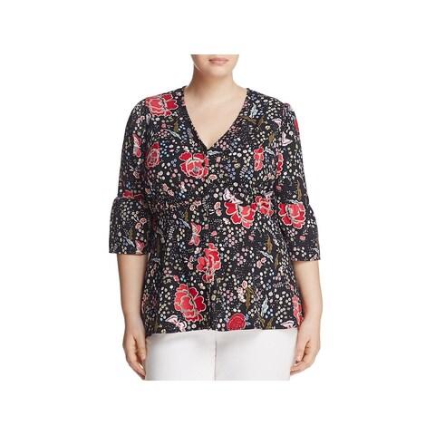 Junarose Womens Plus Jrolga Blouse Floral Print Button Front