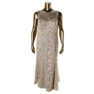 Ignite Evenings By Carol Lin Womens Plus Beaded Ribbon Appliqued Evening Dress - 12