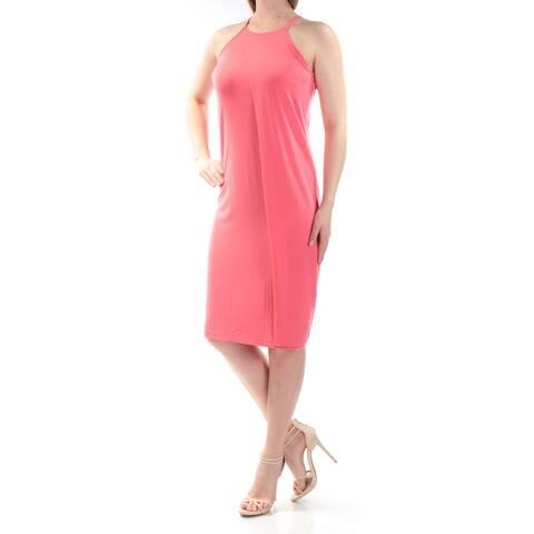 BAR III Womens Coral Sleeveless Jewel Neck Knee Length Shift Dress Size: S
