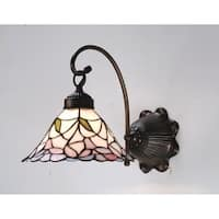 """Meyda Tiffany 18724 Daffodil Bell 9"""" Wide 1-Light Wall Sconce with Stained Glass Shade - Mahogany Bronze - n/a"""