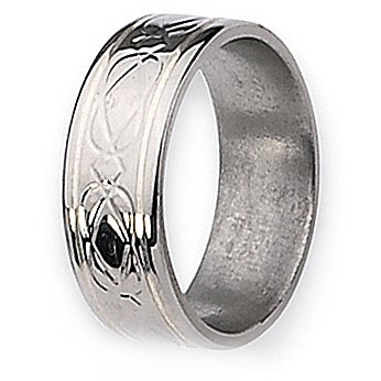 Chisel Silver Inlaid Flat Polished Titanium Ring (8.0 mm)